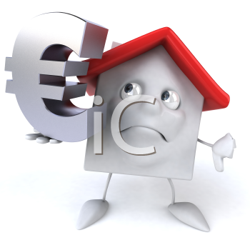 Royalty Free 3d Clipart Image of a House Holding a Euro Sign