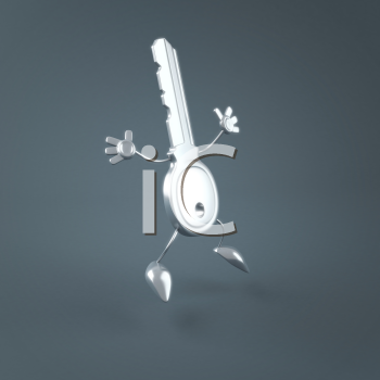 Royalty Free Clipart Image of a Key Jumping