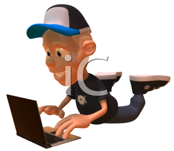 Royalty Free 3d Clipart Image of a White Youth Holding a Laptop Computer