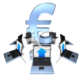 Royalty Free 3d Clipart Image of a Euro Symbol Surrounded by Laptop Computers