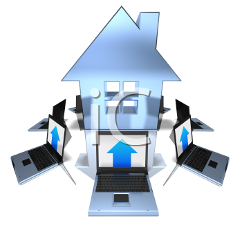 Royalty Free 3d Clipart Image of an At Symbol Surrounded by Laptop Computers