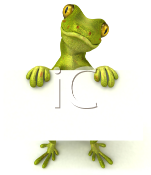 Royalty Free 3d Clipart Image of a Gecko Holding a Sign
