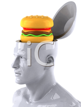 Royalty Free 3d Clipart Image of a Male Thinking About a Hamburger