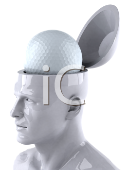 Royalty Free 3d Clipart Image of a Male Thinking About a Golf Ball