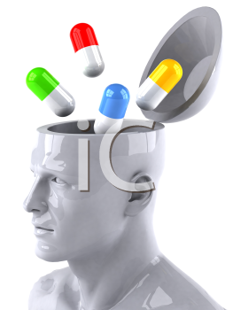 Royalty Free 3d Clipart Image of a Male Thinking About Pills