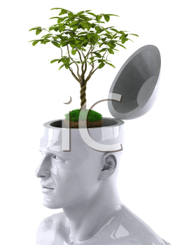 Royalty Free 3d Clipart Image of a Male Thinking About a Plant