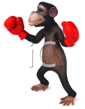 Royalty Free Clipart Image of a Chimpanzee With Boxing Gloves