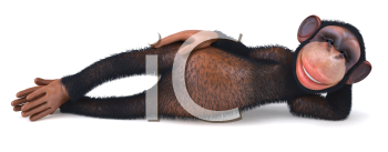 Royalty Free Clipart Image of a Monkey Lying on Its Side