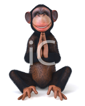 Royalty Free Clipart Image of a Monkey Meditating