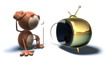 Royalty Free 3d Clipart Image of a Monkey Watching Television