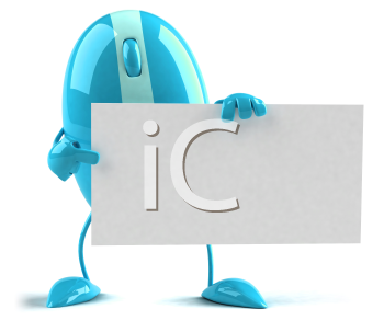 Royalty Free 3d Clipart Image of a Blue Computer Mouse Holding a Sign