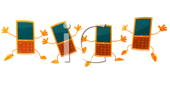 Royalty Free 3d Clipart Image of Dancing Cell Phones