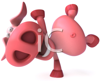 Royalty Free Clipart Image of a Pig Doing Cartwheels
