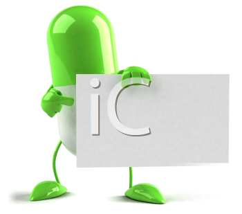 Royalty Free 3d Clipart Image of a Pill Holding a Sign