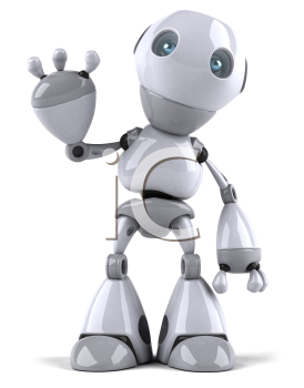 Royalty Free Clipart Image of a Robot Waving