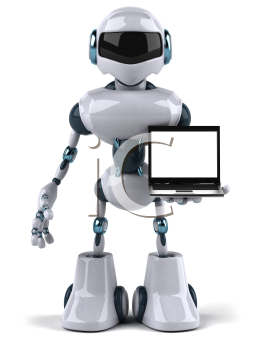 Royalty Free Clipart Image of a Robot With a Laptop