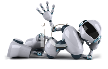 Royalty Free Clipart Image of a Robot Lying Down and Waving