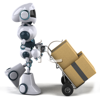 Royalty Free 3d Clipart Image of a Robot Pushing a Dolly Cart with Boxes