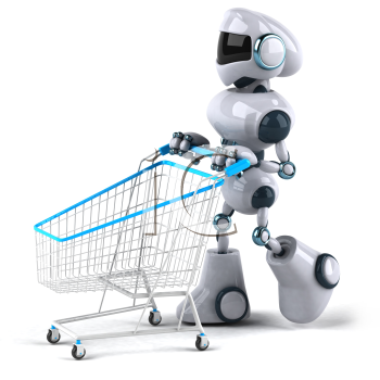 Royalty Free 3d Clipart Image of a Robot Pushing a Shopping Cart