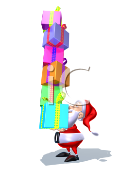 Royalty Free 3d Clipart Image of Santa Holding a Stack of Gifts