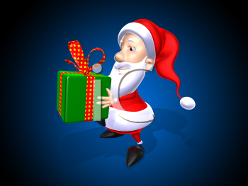 Royalty Free 3d Clipart Image of Santa Holding a Gift