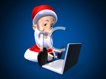 Royalty Free 3d Clipart Image of Santa Working on a Laptop Computer