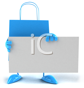 Royalty Free 3d Clipart Image of a Shopping Bag Holding a Sign