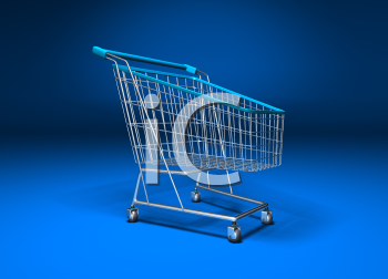 Royalty Free 3d Clipart Image of a Shopping Cart With a Blue Background