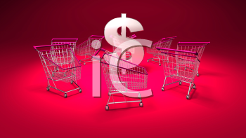 Royalty Free 3d Clipart Image of Shopping Carts With a Red Background and Dollar Sign in the Centre