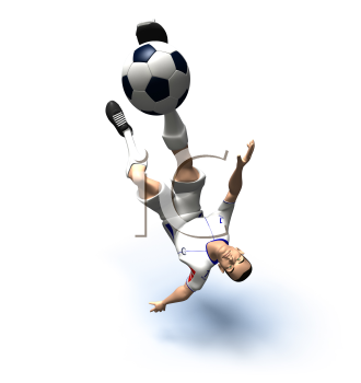 Royalty Free 3d Clipart Image of a Male Soccer Player