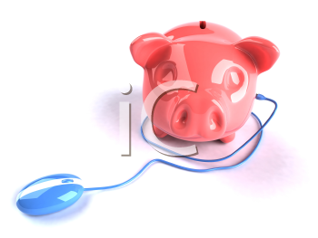 Royalty Free 3d Clipart Image of a Piggy Bank Attached to a Computer Mouse