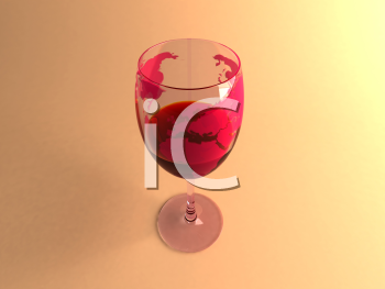 Royalty Free 3d Clipart Image of a Glass of Red Wine