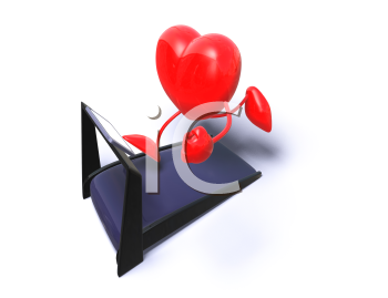 Royalty Free 3d Clipart Image of a Heart Running on a Treadmill