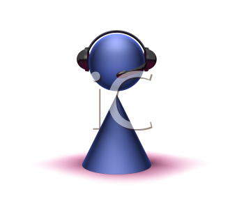 Royalty Free 3d Clipart Image of a Cone Figure Wearing a Headset