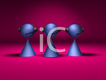 Royalty Free 3d Clipart Image of Cone Figures Wearing a Headset