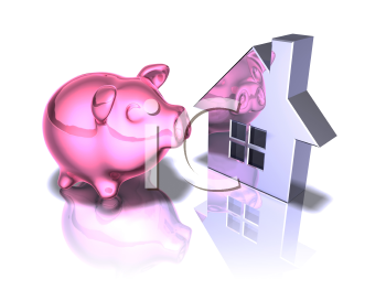 Royalty Free 3d Clipart Image of a Piggy Bank Looking at a House