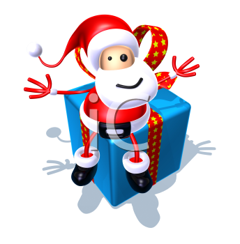 Royalty Free 3d Clipart Image of Santa Sitting on a Large Gift