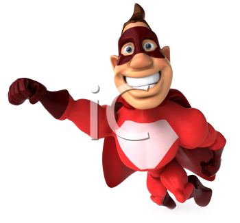 Royalty Free Clipart Image of a Flying Superhero With a Big Smile