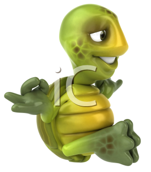Royalty Free 3d Clipart Image of a Turtle Meditating