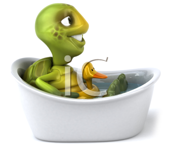 Royalty Free Clipart Image of a Turtle Taking a Bath