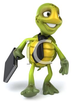 Royalty Free Clipart Image of a Turtle Wearing a Tie and Carrying a Briefcase