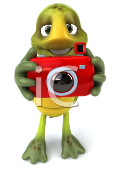 Royalty Free Clipart Image of a Turtle With a Camera