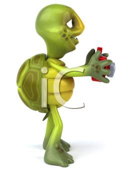 Royalty Free Clipart Image of a Side View of a Turtle Taking a Picture
