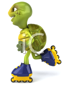 Royalty Free Clipart Image of a Rollerblading Turtle