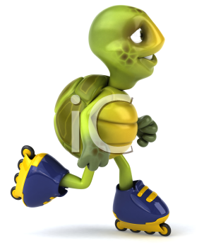 Royalty Free Clipart Image of a Rollerblading Turtle Turned Sideways
