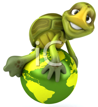 Royalty Free 3d Clipart Image of a Turtle Sitting on a Green Globe