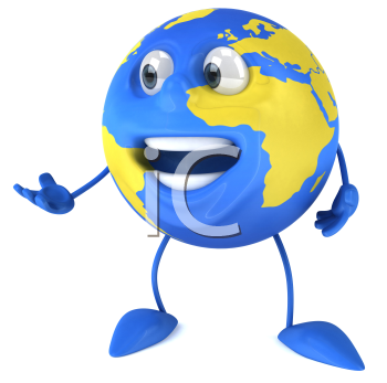 Royalty Free Clipart Image of a Globe With Hand Extended