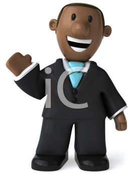 Royalty Free Clipart Image of a Black Man Waving