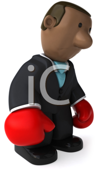 Royalty Free Clipart Image of an African American Businessman With Boxing Gloves
