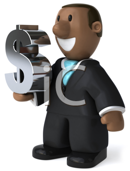Royalty Free Clipart Image of a Black Man Holding a Dollar Sign